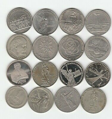 Russia 1 Rouble 1960s 1970s 1980s Lot of 16 BU Prooflike Commemorative