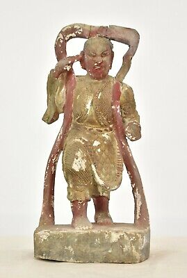 Antique Chinese Red & Gilt Wooden Carved Statue / Figure of Warrior, 19th c