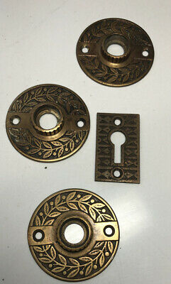 Antique  VICTORIAN Eastlake  Cast Brass/Bronze Rosettes ( 3) With Lock Plate !
