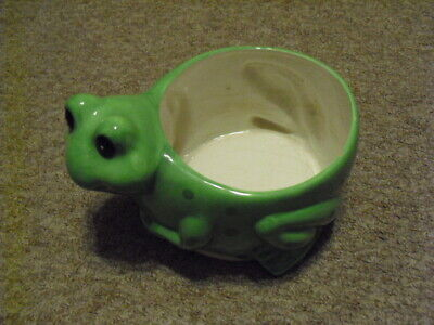 Small 2.5/' height Ceramic Planter Pot Vase Container Frog Design Green Glazed