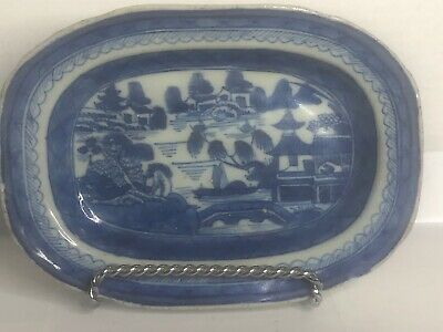 """Antique 1800's Small 7.5"""" Chinese EXPORT Blue White PORCELAIN CANTON Tray"""