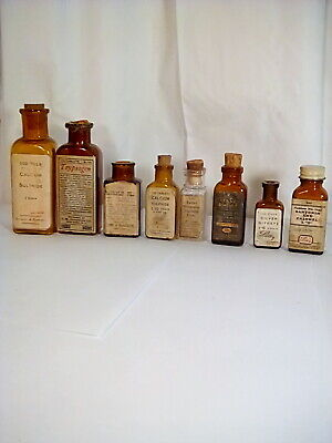 Vintage Medicine Bottles Brown, lot of 8  Eli Lilly and Reed&Carnrick