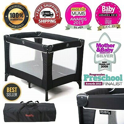 Baby Travel Cot Black with Mattress Folding Crib Bed and Carry Bag Sleeptight UK