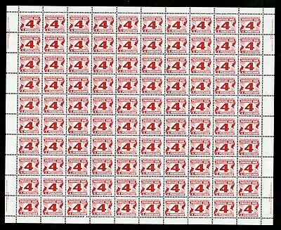"""CANADA SHEET - Scott J31a - NH inscription - 4¢ Fourth """"Red"""" Postage Due (.020)"""