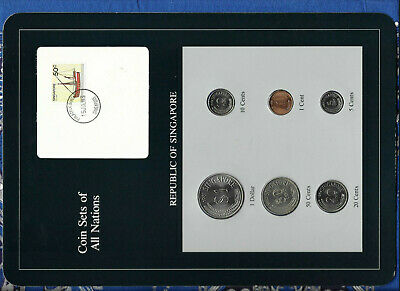 Coin Sets of All Nations Singapore 1981-1984 UNC 5 cents 1983 steel 1 cent 1981