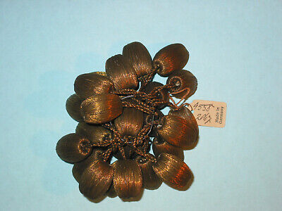 Antique Victorian Hanging Silk Beads ~ Brown ~ Made In Germany ~ Lots Of 24