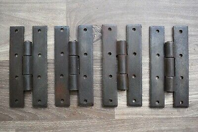 vintage solid Iron Gothic gate door tool box trunk chest hinges Barn Rusty 4 pcs