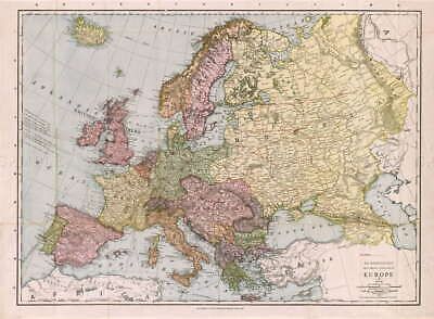 116557 MAP ANTIQUE McNALLY 1912 EUROPE OLD HISTORIC Decor LAMINATED POSTER FR