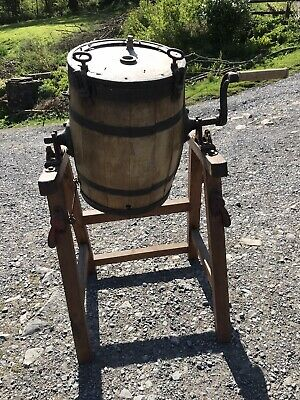 Large Vintage Wooden Butter Churn - With Stand