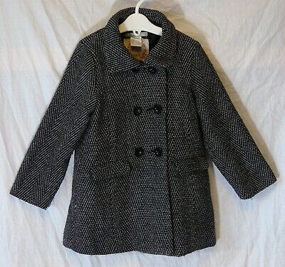 Girls La Redoute Black White Double Breasted Smart Wool Blend Coat Age 4 Years