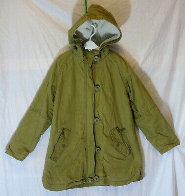 Girls Next Khaki Green Furry Fleece Lined Heavy Cotton Hooded Coat Age 11 Years