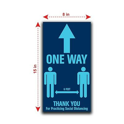 """12 Pack """"One Way Thank You for Practicing Social Distancing"""" Floor Stickers 8X15"""