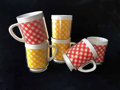 6 Vintage 60's West Bend Thermo-Serv Red/Yellow Plaid Cups Mugs w/handles