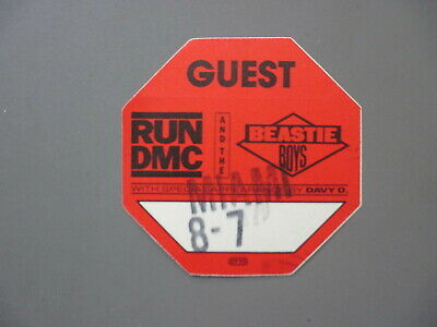 Beastie Boys & Run DMC satin cloth backstage pass AUTHENTIC Octagon Miami, 8/7 !