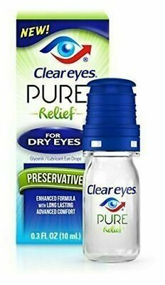 Clear Eyes Preservative Free Pure Relief For Dry Eyes .3 Fl Oz  exp 06/2020