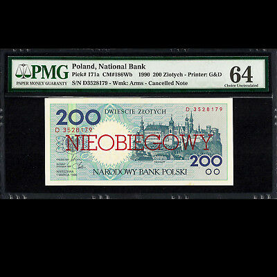 Poland National Bank 200 Złotych 1990 CANCELLED NOTE PMG 64 CHOICE UNC P-171a