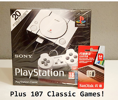 Sony Playstation Classic Mini with 107 Classic Games BRAND NEW SEALED
