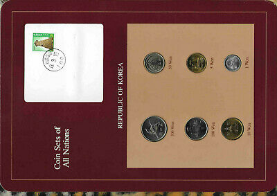 Coin Sets of All Nations Korea w/card UNC 500 Won 1984 1,5,10,50,100 Won 1983