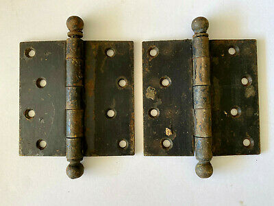 Two Antique Cast Iron Ball Tip Door Hinges