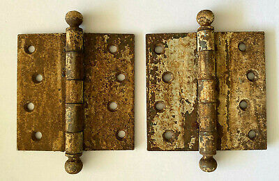 Two Large Antique Cast Iron Ball Tip Door Hinges White Shabby