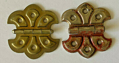 Lot of 2 Antique Brass & Silver Sweetheart Clamshell Door Hinges