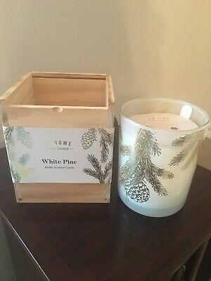 DW Home Hand Poured Large 15oz White Pine CANDLE in a wooden box.