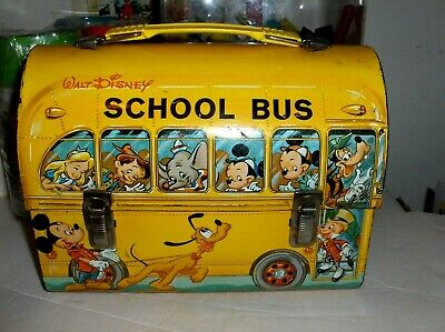 Disney School Bus'1960s`Jimmy Cricket Getting Of Bus,Aladdin Dome,Metal Lunchbox