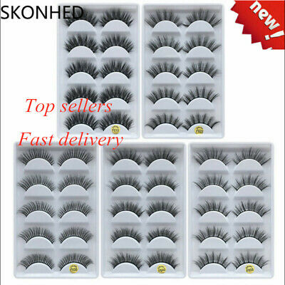 SKONHED 5Pairs 100% Real Mink 3D Volume Thick Daily False Eyelashes Strip Lashes