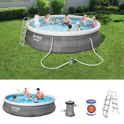 BestWay Family Swimming Pool Fast Set Round Inflatable Above Ground Rattan Print