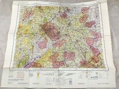 1966 Vintage Military Map of East West Midlands Topographical Flight Chart RAF