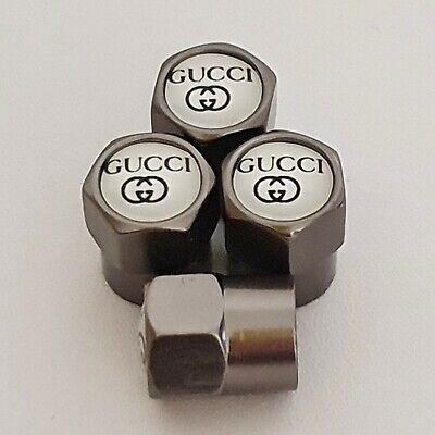 GUCCI Gun Metal Grey Valve Dust Caps for all model cars and bikes
