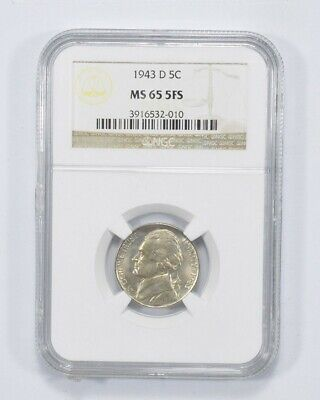 MS65 5FS 1943-D Jefferson Nickel - Graded NGC Silver War Full Steps