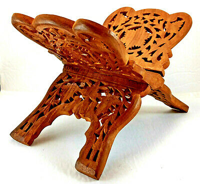 Hand Carved Wood Folding Book Holder Bible Stand  India Quality Certified Mark