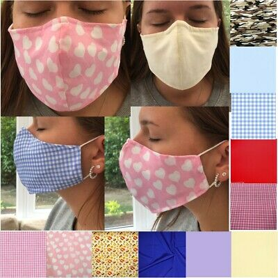 3 Layer Fabric Face Mask With Nose Wire & Filter Pocket -Cup. Washable - Adult