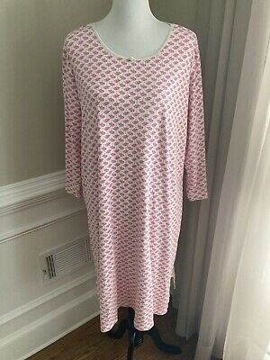 Lands End Nightgown Long Sleeves 100% Cotton Xl Pink White