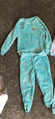 Girls New Pjs Tear Silver Snow Flakes 3-4 Years Fluffy Soft Cosy George