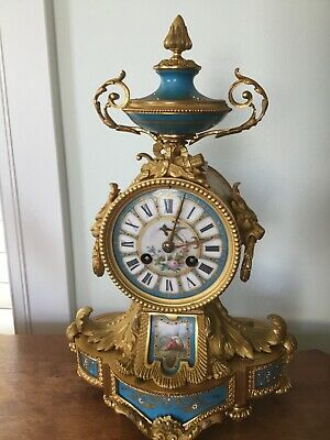 Antique French gilt bronze and porcelain clock, circa mid 19 century