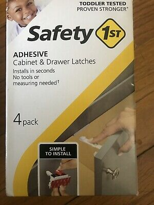 Safety 1st Adhesive Cabinet 4 Piece Latch for Childproofing, White, One Size
