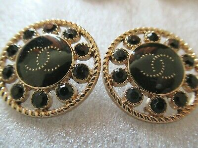 💋💋💋💋💋 Chanel 2 cc BLACK crystal buttons gold BLACK 22mm lot of 2