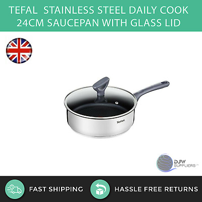 Tefal Stainless Steel Daily Cook 24cm Saucepan With Glass Lid Cooking Pan Cook