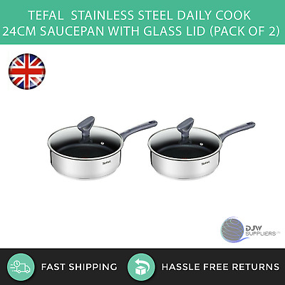 2 x Tefal Stainless Steel Daily Cook 24cm Saucepan With Glass Lid (Pack of 2)