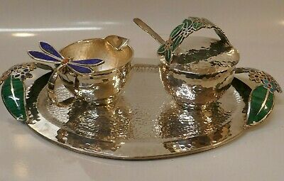 Gorgeous Rare Emilia Castillo Inlaid Sterling Silver Cream & Sugar Set W / Tray