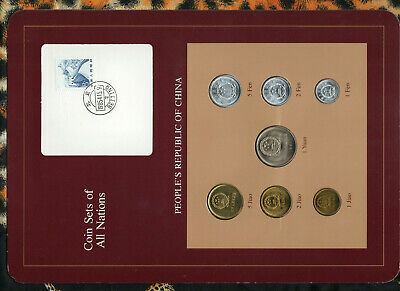 Coin Sets of All Nations China w/card 1981-1982 UNC 1 Yuan 5,2,1 Jiao 1981