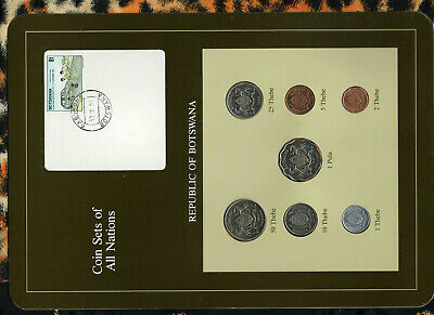 Coin Sets of All Nations Botswana 1981 & 1984 UNC Unique Stamp and Date 30 IX 91