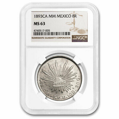 1893-Ca MM Mexico Silver 8 Reales MS-63 NGC - SKU#211206