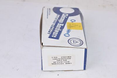 """Chicago Hardware U-Bolts For 3//4/"""" Pipe 3//8/"""" x 1-1//4/"""" x 2-1//4/"""" 50077 Qty 3 Boxes"""