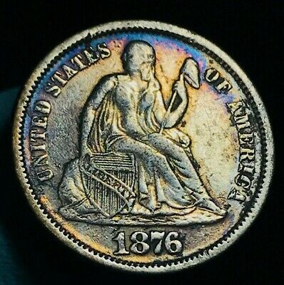 1876 Seated Liberty Dime 10c High Grade Details DIE CRACK US Silver Coin CC1907