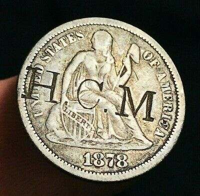 1878 Seated Liberty Dime 10c COUNTERSTAMPED HCM Good Date US Silver Coin CS1908