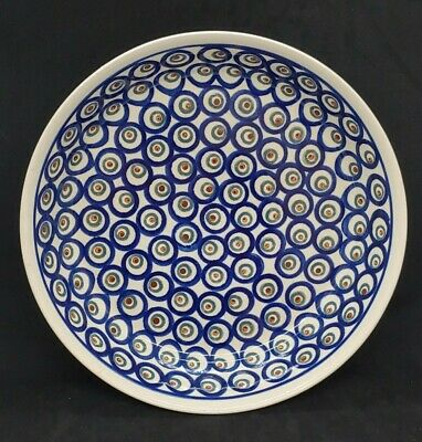 Polish Pottery Large Round Serving Bowl Dish Boleslawiec  PEACOCK PATTERN 10""