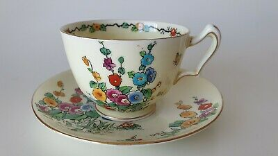 Crown Staffordshire Hollyhocks Large Breakfast Tea Cup and Saucer